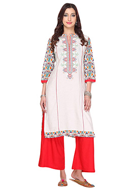 Off White Jute N Blended Cotton Palazzo Suit