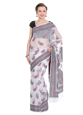 Off White Jute Net Saree