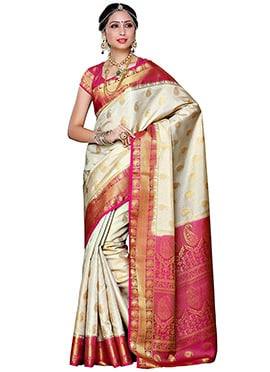 Off White Kancheepuram Art Silk Saree