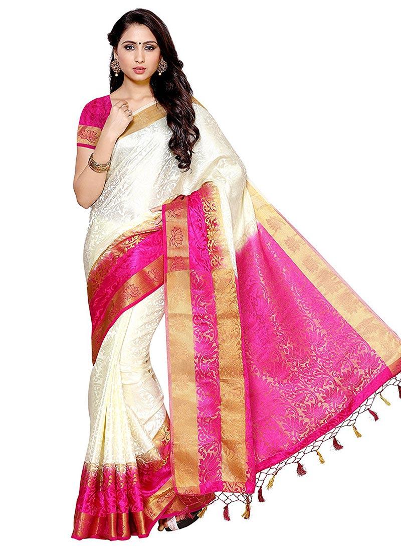Buy Off White Kancheepuram Art Silk Saree Sari Online