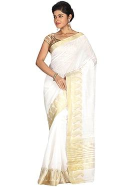 Off White Kancheepuram Art Silk Saree