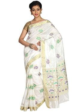 Off White Kancheepuram Art Silk Zari Saree