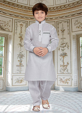 White Kids Art Silk Cotton Pathani Set