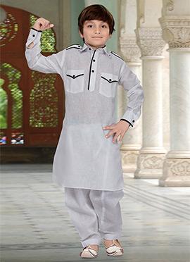 White Kids Art Silk Cotton Pathani Set