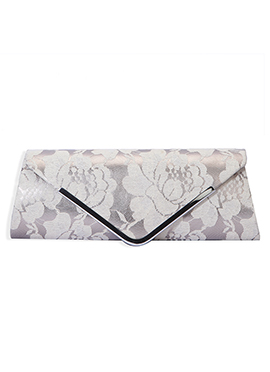 Off White Lace Floral Designed Clutch