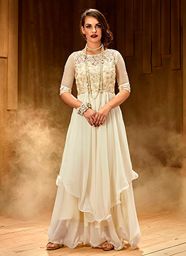 Off White Layered Anarkali Gown