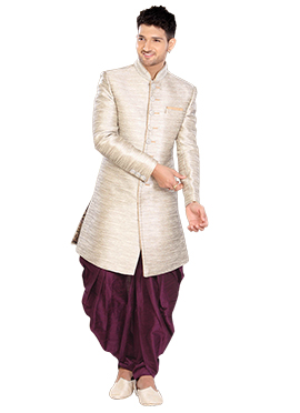 Beige Linen Indowestern Sherwani