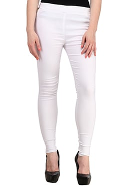 Off White Lycra Cotton Straight Pant