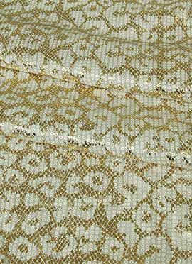 Off White Lycra Foil Printed Fabric
