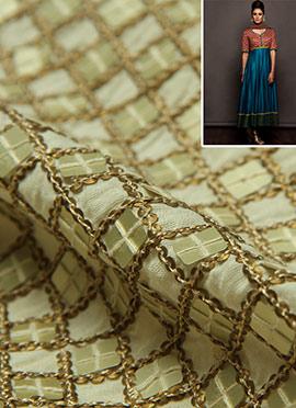 Off White Matte Sequins Cotton Anarkali Suit