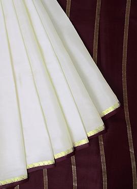 Off White Mysore Pure Silk Saree