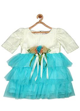 Off White N Aqua Blue Net Kids Dress