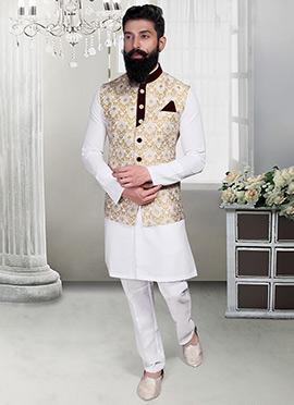 Off White N Beige Brocade Foliage Designed Nehru Jacket