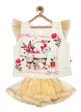 Off White N Beige Net Kids Dress