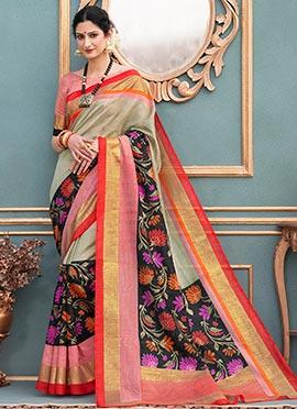 Off White N Black Art Bhagalpuri Silk Saree
