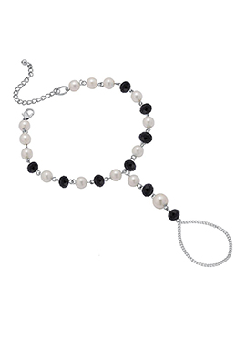 Off White N Black Beads Chain Anklet