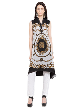 Off white N Black Georgette Printed Kurti