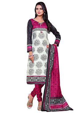 Grey N Black Printed Churidar Suit