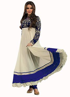Off White N Blue Anarkali Suit