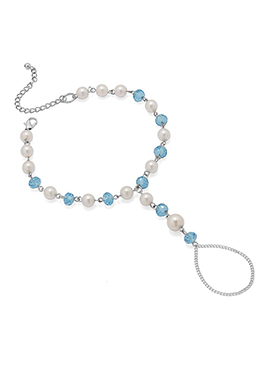 Off White N Blue Beads Chain Anklet