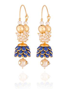 Off White N Blue Beads Hoop Earring