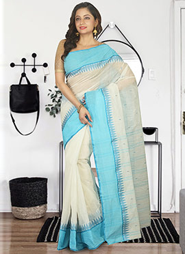 Off White N Blue Bengal Handloom Tant Saree