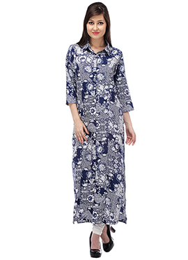 Off White N Blue Blended Cotton Kurti