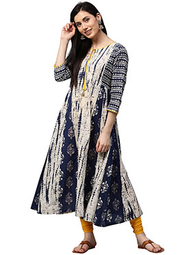 Off White N Blue Cotton Long Kurti