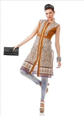 Off White N Brown Cotton Kurti