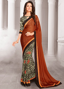 Off White N Brown Half N Half Saree