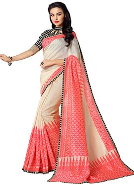 Off White N Coral Pink Printed Saree