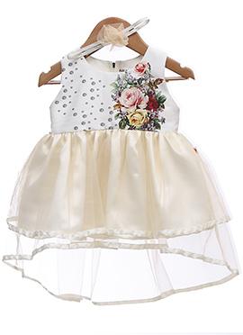 Off White N Cream Taffeta Silk Net Kids Dress