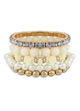 Off White N Gold Floral Style Bracelet