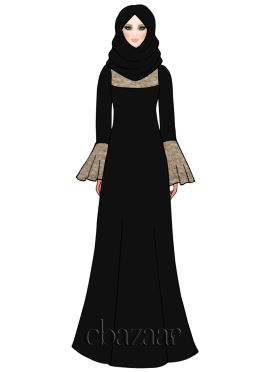 Off White N Gold Net Embroidered Abaya