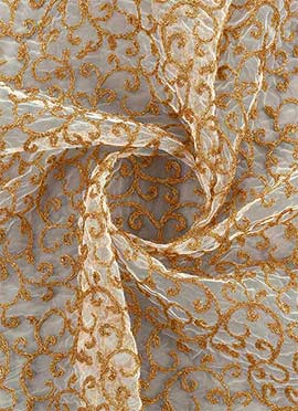 Off White N Gold Net Embroidered Fabric