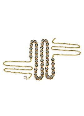 Off White N Gold Stone Studded Saree Belt