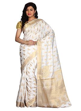 Off White N Golden Art Silk Saree