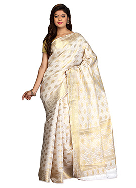Off White N Golden Art Silk Saree