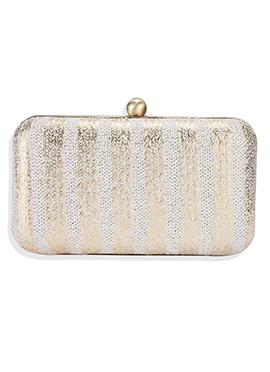 Off White N Golden Beige Leather Box Clutch