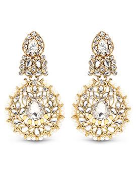 Off White N Golden Dangler Earrings