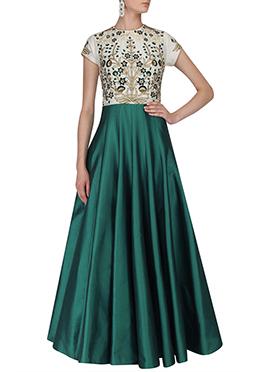 Off White N Green Art Silk Anarkali Gown