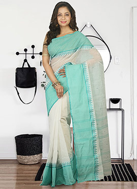Off White N Green Bengal Handloom Tant Saree