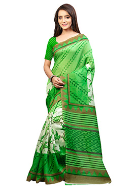 Off White N Green Bhagalpuri Silk Saree
