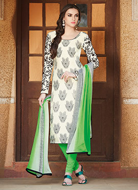 Off White N Green Churidar Suit