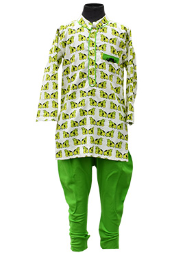 Fayon Off White N Green Kids Kurta Pyjama
