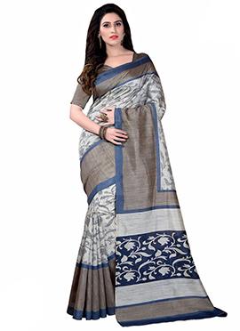 Off White N Grey Bhagalpuri Silk Saree