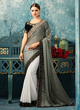 Off White N Grey Embroidered Saree