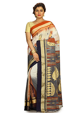 Off White N Grey Silk Cotton Jamdani Saree