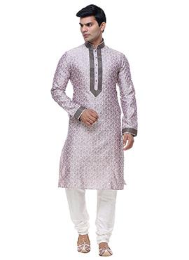 Off White N Lavender Art Silk Kurta Pyjama