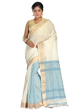 Off White N Light Blue Jamdani Patli Pallu Saree